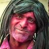 Indian man at Holi Festival in Vrindavan