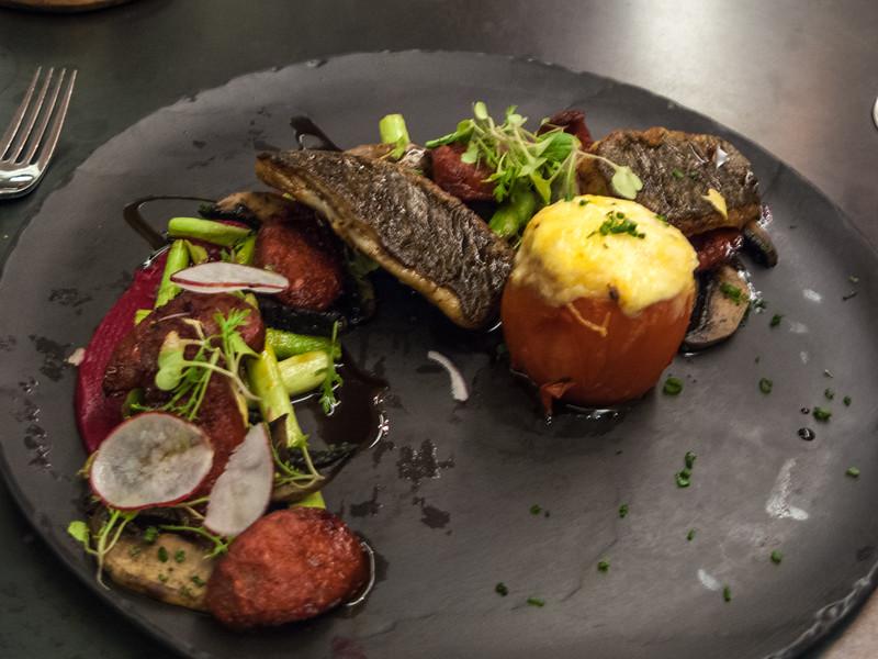 The Greenhouse dinner<br /> Kabeljou with Brassicas: charred broccoli, cauliflower stem, romesco, herb beurre noisette
