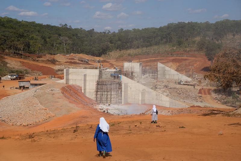 Walking down toward the dam
