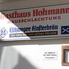 """Gasthaus Hohmann, und Hausschlachtung. Sontra-Mitterode. Denk """"Ahle Worscht""""!"""