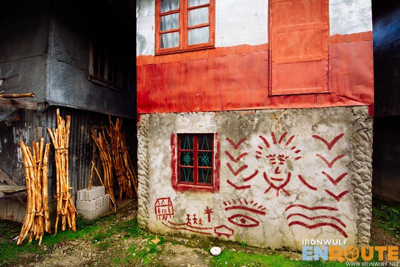 Interesting wall graffiti at the village