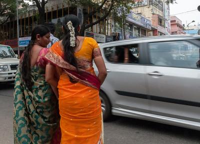 women shopping on Sampige Rd, Bangalore.