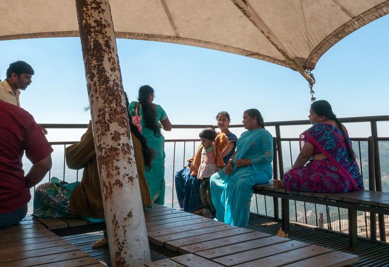 Families enjoy a breezy view at Nandi Hills, outside Bangalore.