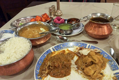 "Meal at ""Tandoor"" restaurant in Bangalore."