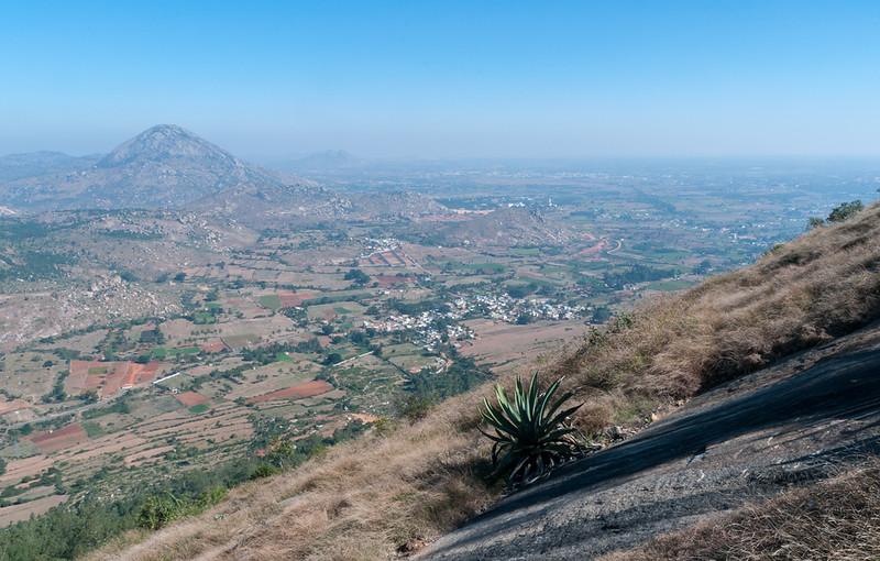 View partway-up Nandi Hills, outside Bangalore.