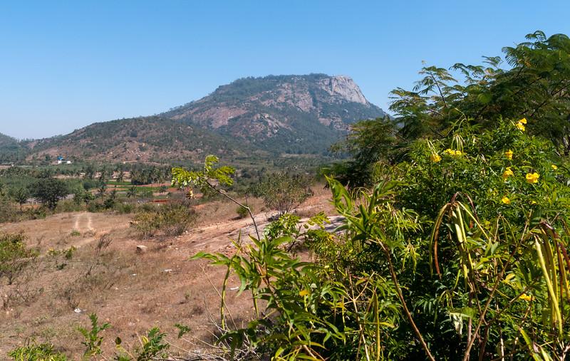 A view back to Nandi Hills, outside Bangalore; I climbed the left ridge.