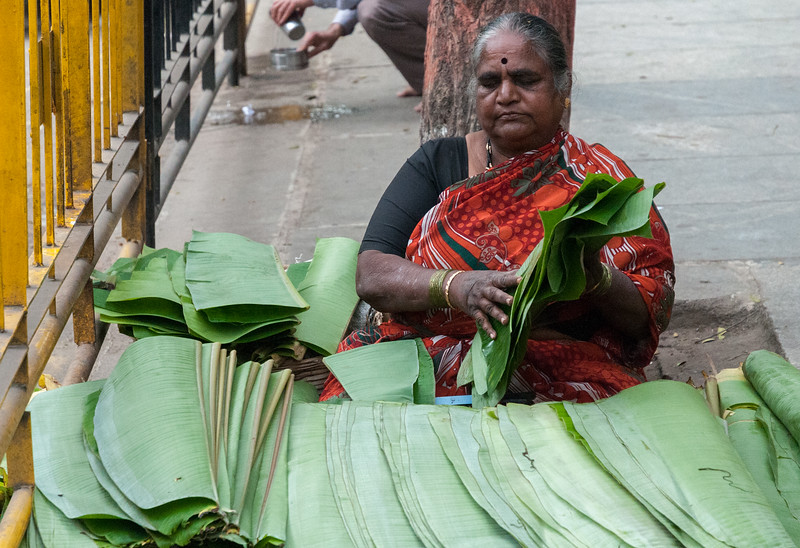 banana-leaf vendor, Sampige Rd, Bangalore