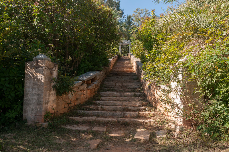 Trail to Nandi Hills is paved with granite steps, outside Bangalore.