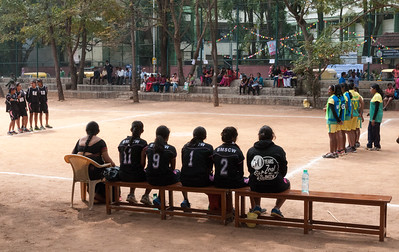 a girls' basketball tournament gets underway outside IISc