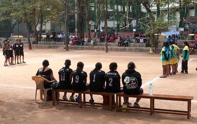 a girls' basketball tournament gets underway outside IISc