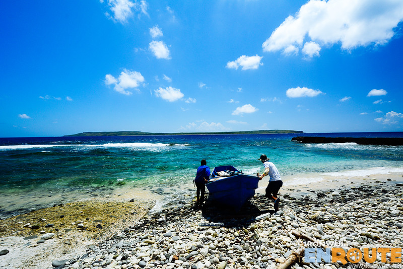 Launching our Tataya, a small boat without outrigger