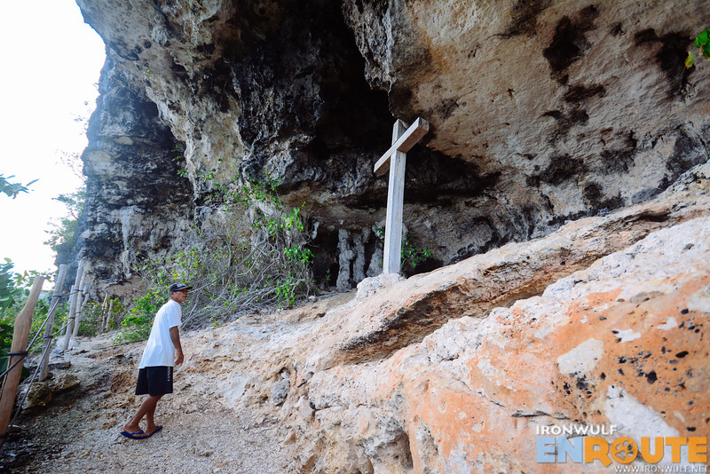 An old cross erected in the shallow caves