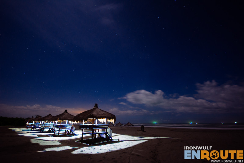 Illuminated huts at night