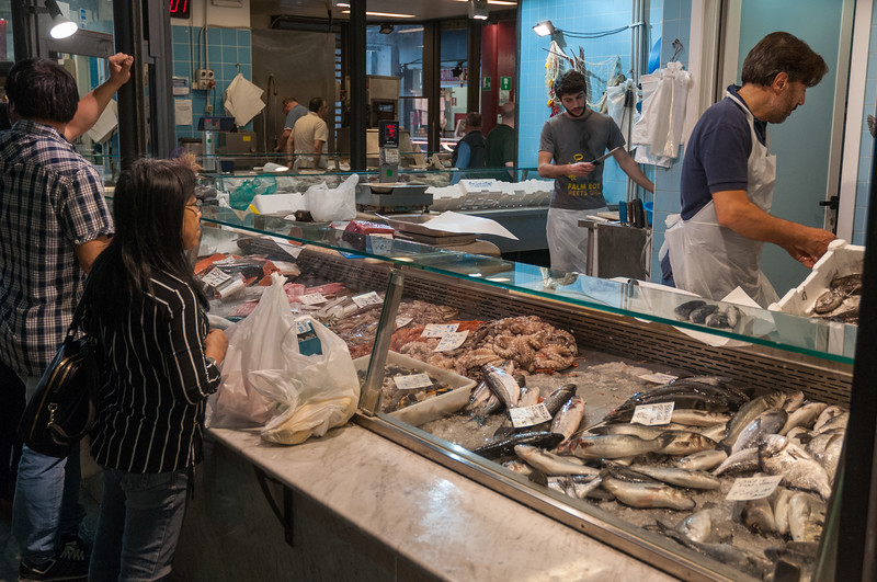 A seafood vendor in Mercato Centrale - Florence