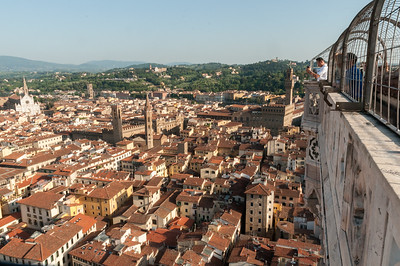 Tourists take in the view from Campanile di Duomo - Florence