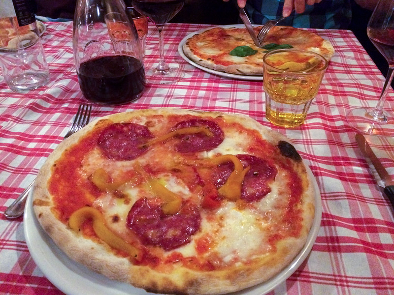 Wonderful pizza in Florence.