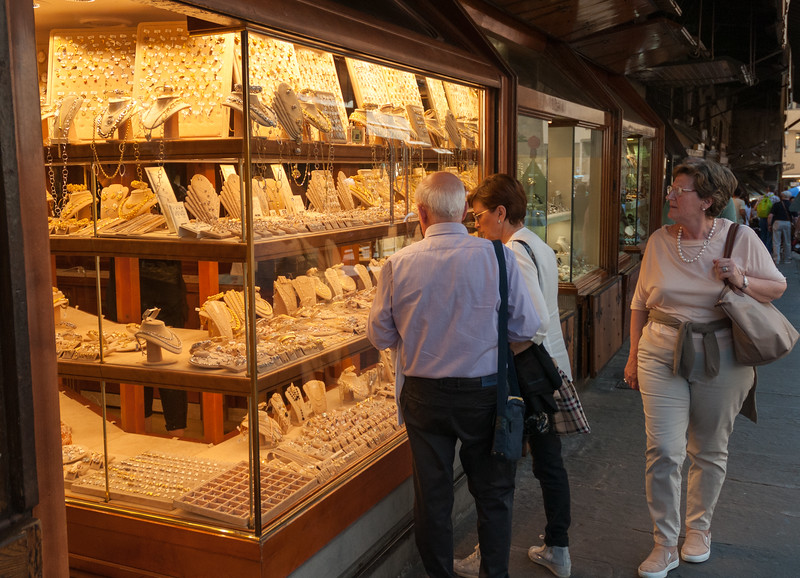 Gold and jewelry shops adorn the Ponte Vecchio - Florence