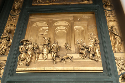 Just one panel of the beautiful brass door on Battistero, Piazza di Duomo - Florence