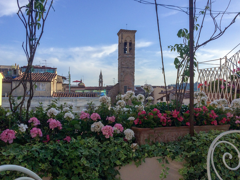 View from the terrace at Hotel Tornabuoni Beacci.