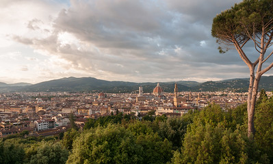 Sunset view of Florence from Forte di Belvedere - with Duomo at center.