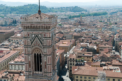 View of Campanile (with tourists atop) from the dome of Duomo - Florence