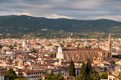 Sunset view of Florence from Forte di Belvedere - with Santa Croce at center.