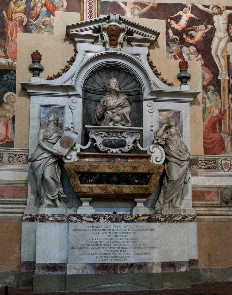 Memorial to Galileo - one of many scientists - inside Santa Croce cathedral.