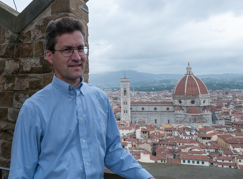 David takes in the view of the Duomo from the tower at Palazzo Vecchio - Florence