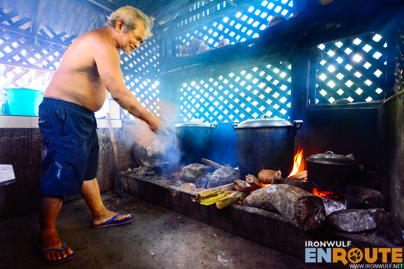 Cooking pinangat the traditional way on open wood fire