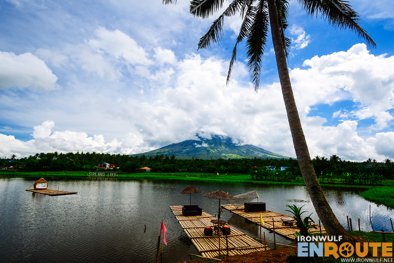 Placid lake with parked balsa (bamboo rafts)