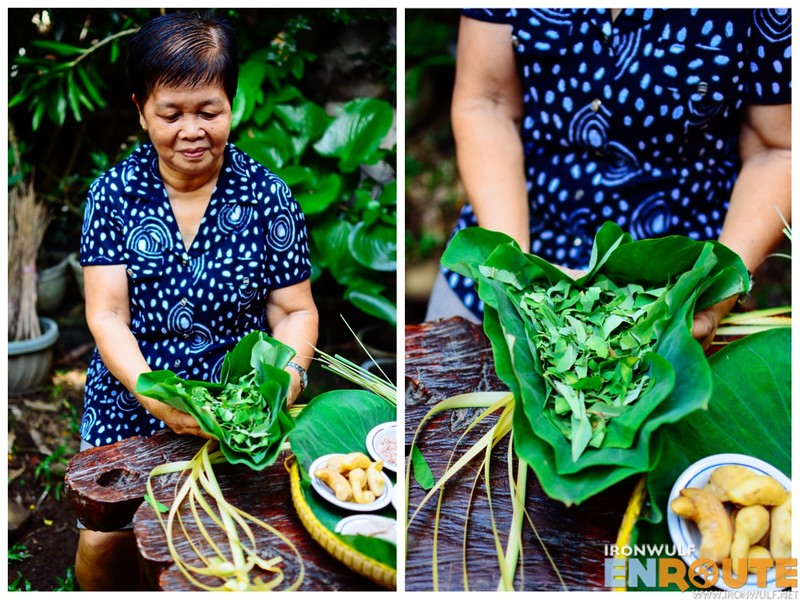 Ate Zeny Nocedo holding the luscious gabi leaves from Guinobatan