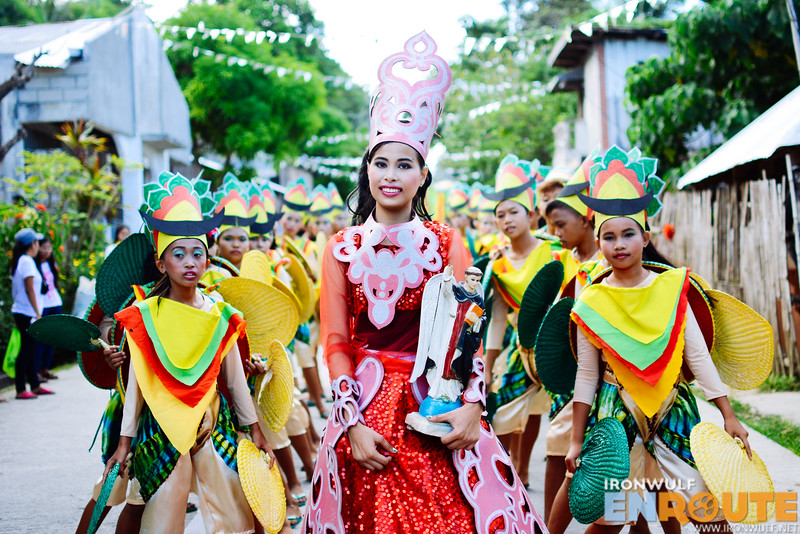 Colorful costumes made with native materials