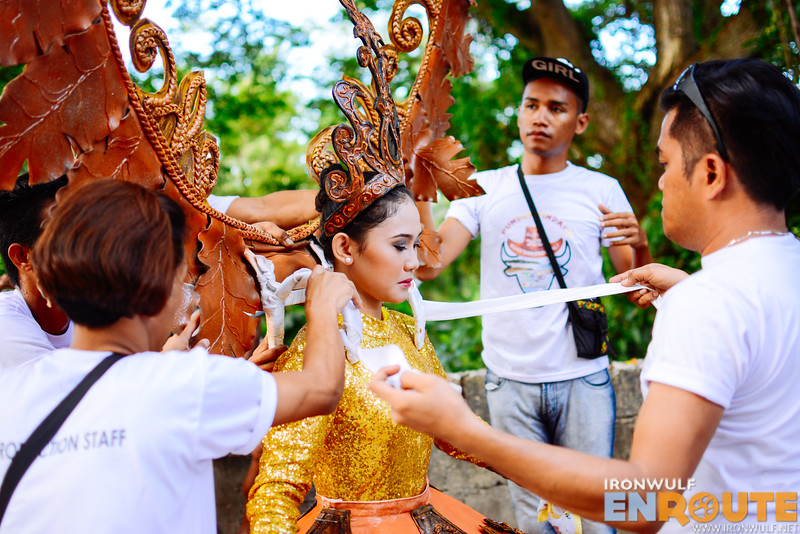 It takes a number of people to dress up this festival queen from Brgy Dancalan