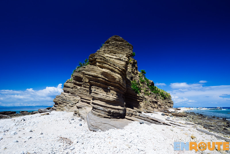 The island rock formation seen from one end of the island