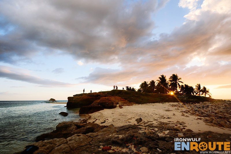 Setting sun and the rocky side of Tinalisayan Islet