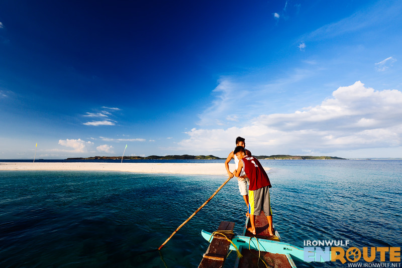 Approaching the sandbar of Sombrero Island