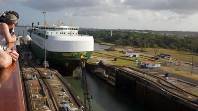 Panama Canal Transit on the Veendam; Ship entering lock next to us as our gates close