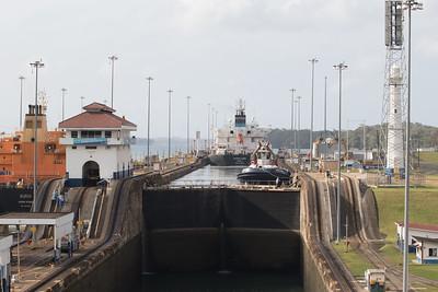 Panama Canal Transit on the Veendam  Panama Canal Transit on the Veendam; Ship ahead leaving lock