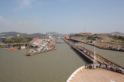 Panama Canal Transit on the Veendam; Entering last lock at Miraflores