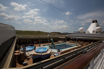 Panama Canal Transit on the Veendam; View over the Veendam pool during the transit