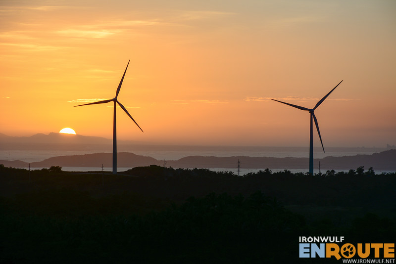 Catching the setting sun against the windmills