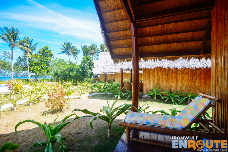 Each cottage have a lanai-type area overlooking the garden and beach