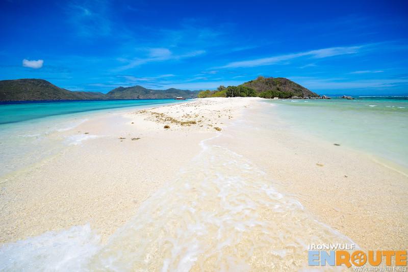 Short sandbar at the island
