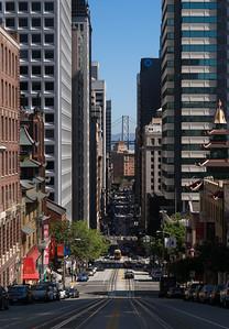 California St leading to Bay Bridge, Chinatown