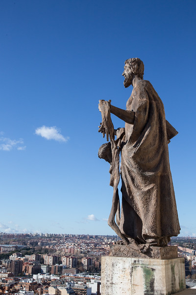 Statue at Top of Almudena Cathedral, Madrid