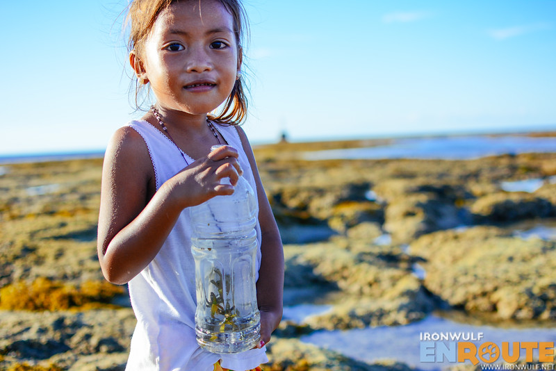 Collecting tiny fishes in a bottle