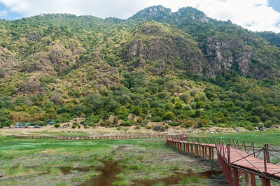 The boardwalk at Lake Manyara offers a better view of the birdlife in this shallow lake.