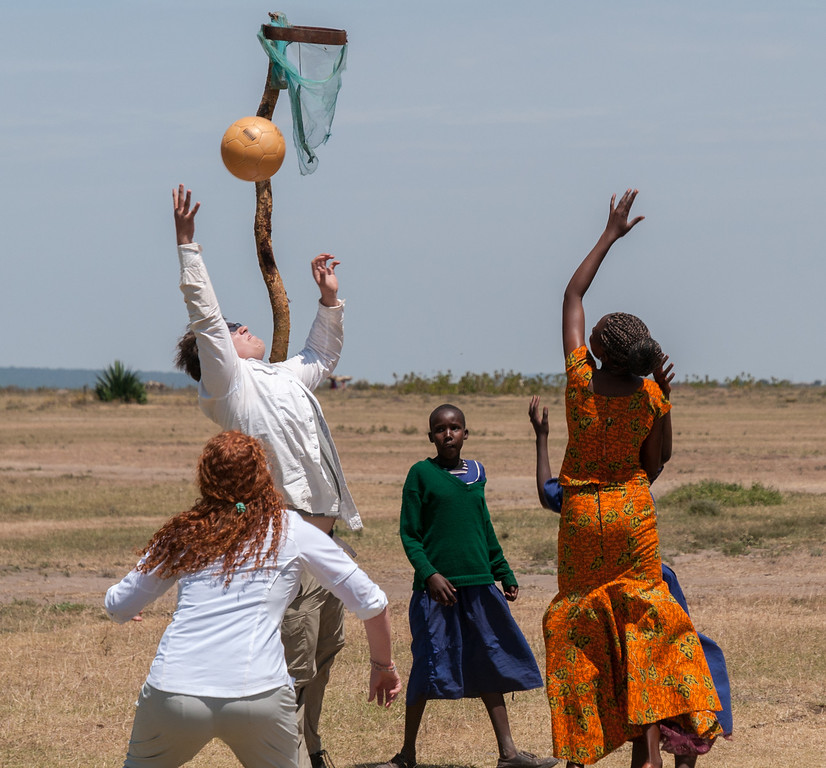We play 'netball' with the schoolchildren and schoolteacher.