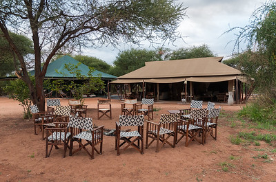 Campfire ring, dining tent, lounge tent at nyumba - Tarangire N.P., Tanzania.