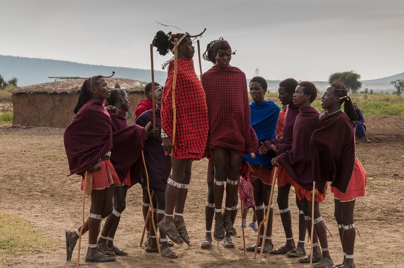 Young warriors dance at a Maasai boma near Enashiva, Tanzania.